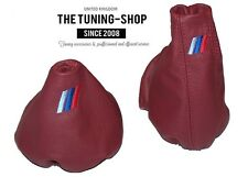 FOR BMW E36 E46 MANUAL TANIN RED LEATHER GEAR HANDBRAKE GAITER M3 EMBROIDERY