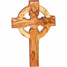 "Small Wall Cross Celtic Olive Wood Catholic Cross 6"" Hanging Catholic Decor NEW"
