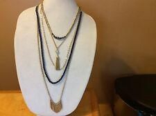 $44.50 Lucky Brand Blue and Gold Paddle Multi-Layer Necklace (3) 328