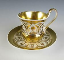 Antique KPM Porcelain CUP & SAUCER German FRENCH EMPIRE Style Gold Gilt Berlin