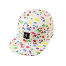 Paint Spot Splatter 5 Panel Snapback Biker Cycle Cadet Cap Hat Adjustable White