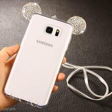 Cute Crystal Mickey Ears Soft Silicon Case Cover Skin For Samsung Galaxy S7 Edge