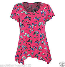 NEW LADIES SHORT SLEEVE MULTI COLOUR SMOCK TOP SIDE DIP TUNIC TOP SIZE UK 10-20