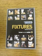 2010/2011 wolverhampton wanderers: fixtures liste-petit pull out/repli style
