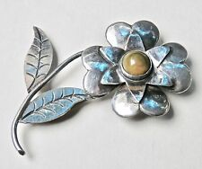Vintage Mexican Brooch Sterling Silver Green Onyx 1940s Flower Brooch Silver Pin