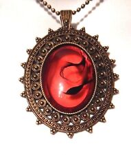 TAINTED BLOOD NECKLACE red black bronze ornate bezel cameo gothic vampire Z5