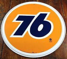 "UNION 76 GAS & OIL COMPANY OFFICIALLY LICENSED PRODUCT 11 3/4"" ROUND METAL SIGN"