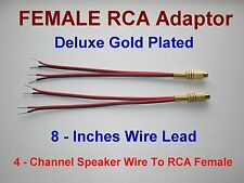 4 Channel Speaker Wire RCA GOLD Y Adapter Amp Receiver Powered Speakers Female