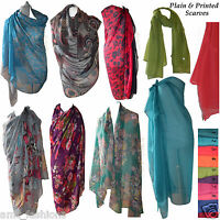 NEW LADIES SCARF HIJAB WRAP SARONG WOMENS MAXI BIG SCARVES FLORAL PRINT & PLAIN