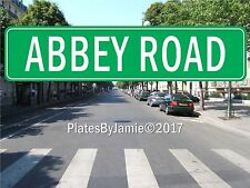 """Abbey Road Beatles Lennon Street Sign Green Background White Text 18"""" x 4"""" New"""