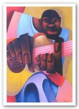 AFRICAN AMERICAN ART PRINT Mo Guitar by Maurice Evans