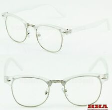 Clubmaster Browline Retro Style Clear Lens Glasses Half Frame Transparent Design