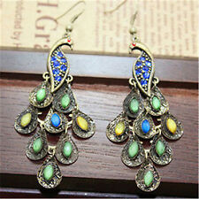 Vintage Art Deco bronze crystal peacock bird earrings