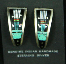 Navajo Earrings Hoop Inlay Turquoise Jet Mother Of Pearl Sterling Silver Indian