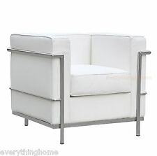 LE CORBUSIER MODERN WHITE GENUINE FULL LEATHER PETITE LC2 CHAIR STAINLESS FRAME