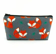 Cosmetic Bag, Zip Pouch, Makeup Bag, Pencil Case, Travel Bag - Orange Fox