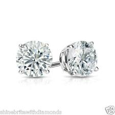 1 Ct Round Earrings Studs Solid 18K White Gold Brilliant Cut Screw Back Basket