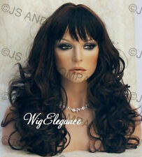 WOW Long Wavy Curly Brown Auburn  Mix Wig WACA 4-30 with Bangs