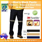 Mens Cotton Drill Pants 3M Tape Workwear Day Night Trousers Work Hi Vis Safety