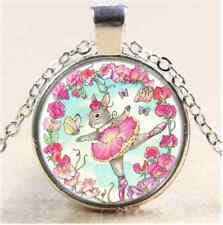 Flower Ballerina Bunny Cabochon Glass Tibet Silver Chain Pendant Necklace#10V