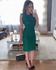 ZARA GREEN FRILLED GUIPURE DRESS Size XS