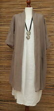 LAGENLOOK LINEN/COTTON PRETTY QUIRKY BOHO JACKET*TAUPE*SIZE 12-18 OSFA ITALY