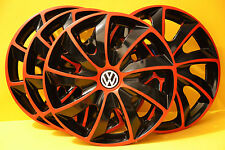"4x16"" VW TRANSPORTER T5,Sharan,Golf,Eos...WHEEL TRIMS,COVERS,HUB CAPS,Red&Black"