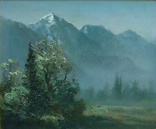 CHINESE MYSTIC STEAMY FOG FOREST MOUNTAINS IMPRESSIONIST LANDSCAPE OIL PAINTING