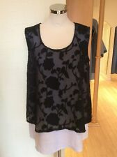 Eden Rock Camisole Top Size XS BNWT Black Sheer Floral, Cream RRP £93 NOW £42