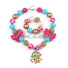 Shopkins Sweet Pendant Gumball Bubblegum Chunky bead Kids Necklace Bracelet Set