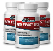 RED YEAST RICE 600mg. ORGANIC CERTIFIED. Supports Cholesterol Level (3 Bottles)