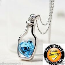Women's Crystal Love Heart Drift Bottle Pendant Necklace , Blue