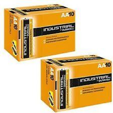 20 BATTERIES DURACELL INDUSTRIAL AA; LR6; LR6T/4B, E91, MN1500 AM3 UM3 BATTERY