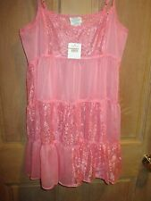 NEW✿ Free People SLIP MINI DRESS S SHEER Tunic Shirt Top Pink Lace