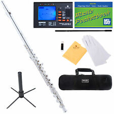 Mendini Silver Plated C Flute 17 Keys Open Hole Italian Pad B Foot+Tuner+Carekit