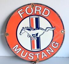 Vintage Genuine Ford Mustang Old Rare Enamel Porcelain 14'' Sign Board