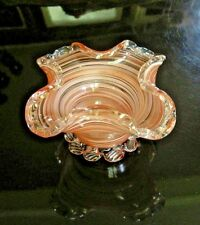 MURANO GOLDEN CROWN E&R ITALY ART GLASS BOWL Gold Flecked Red White Swirl Fluted