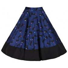 Navy Black Full Circle Cat Print Skirt Vintage Style 50's Rockabilly Size12 BNWT