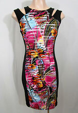 Joseph Ribkoff Black & Multi Colour Dress Size AUS/UK8 US6 IT40 SP38 FR36 GER34