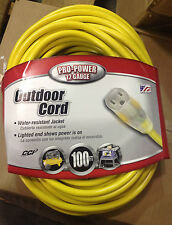 100ft. Outdoor Extension Cord w/Lighted End 12/3 gauge SJTW