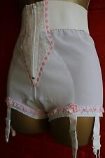 Vtg White With Pink Frilly Lace Zip Look Suspender Panty ShapeWear Sissy Girdle