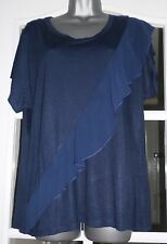 Ladies Navy Short sleeved Top with Ruffle front - Size 14 BNWT
