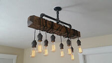 Distressed Wood Beam Pendant Chandelier - Pipe light - Barn wood - Industrial