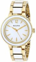 BULOVA WHITE DIAL WHITE CERAMIC & GOLD-TONE ST.STEEL WOMEN'S WATCH 98L173 NEW