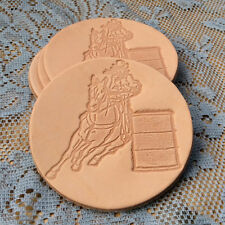 Western Cowgirl Decor Embossed Leather ~Barrel Racer~Coasters Set of 4