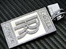 Rolls Royce Pendant 925 Sterling Silver White Gold Finish Simulated Diamond New