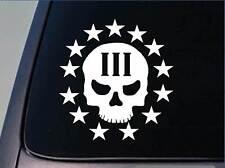 """Three Percenter Skull Sticker *G963* 6"""" vinyl molon labe assault life iii 3%er"""