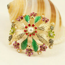 Fashion Elegant Crystal Flower Brooch Pin Wedding Party Jewelry Christmas Gift