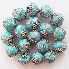 YY016 Beautiful Sky Blue Rare Earth & Tibet silver Spacer Beads 20Pcs