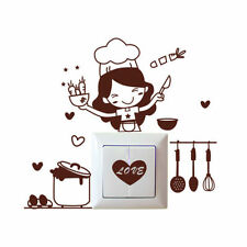 Kitchen Chick Removable Light Switch Stickers Home Waterproof Art Wall Decal